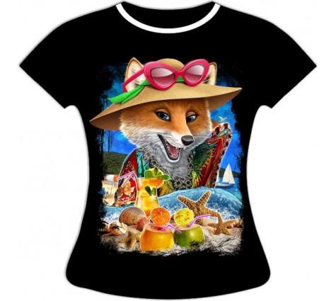 Женская футболка Лиса на пляже