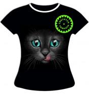 Женская футболка больших размеров Кошка с языком 1047