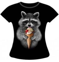 Женская футболка Енот с мороженным