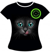 Женская футболка Кошка с языком 1047