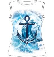 Женская футболка Якорь-волна