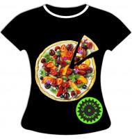 Женская футболка больших размеров Пицца 1073
