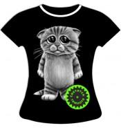 Женская футболка больших размеров Котенок 667