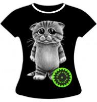 Женская футболка больших размеров Котенок