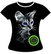 Женская футболка больших размеров с котенком 761
