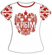 Женская футболка хохлома Крым красная
