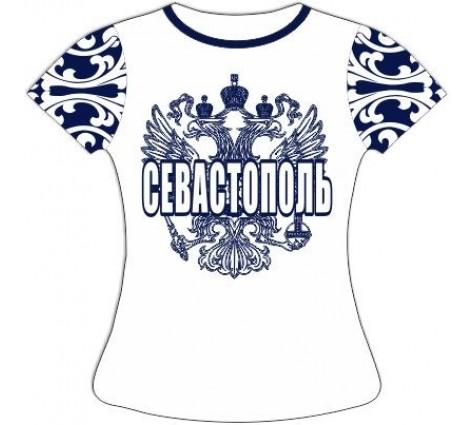 Женская футболка хохлома Севастополь синяя