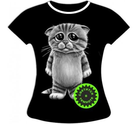 Женская футболка Котенок светящаяся в темноте