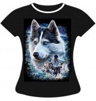 Женская футболка Лайка упряжка 805