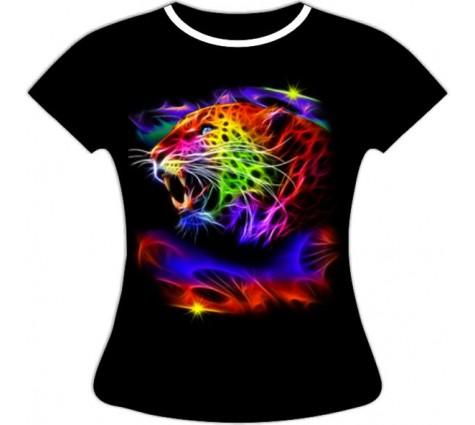 Женская футболка Леопард светящаяся в темноте