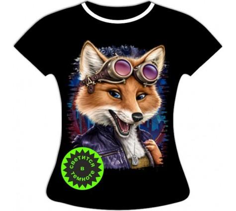Женская футболка Лиса авиатор