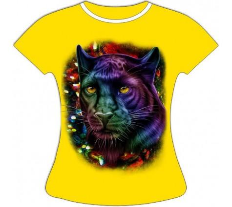 Женская футболка Пантера в блестках светящаяся в темноте