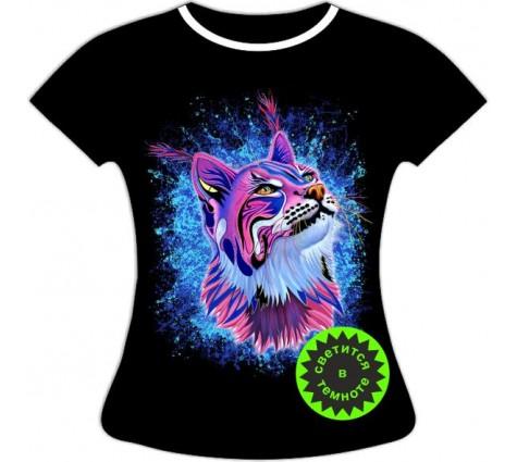 Женская футболка Рысь светящаяся в темноте