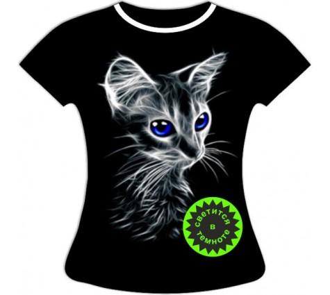 Женская футболка с котенком светящаяся в темноте
