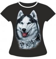 Женская футболка с лайкой светящаяся в темноте
