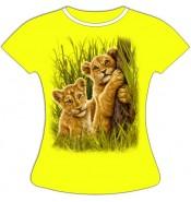 Женская футболка со львятами 796