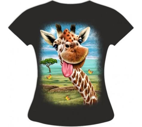 Женская футболка Жираф веселый